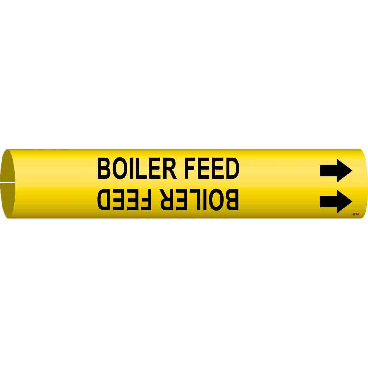 Brady 4016-H Brady Strap-On Pipe Marker Black On Yellow Printed Plastic Sheet Legend Boiler Feed B-915