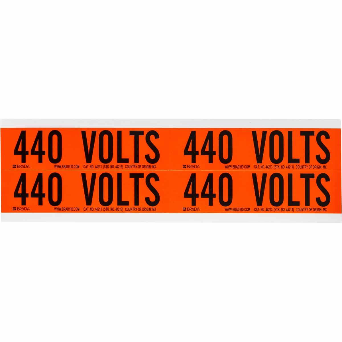 """BRADY 44213 CONDUIT & VOLTAGEMARKER440 VOLT 1 1/8"""" X 4 1/8""""STICKERS"""