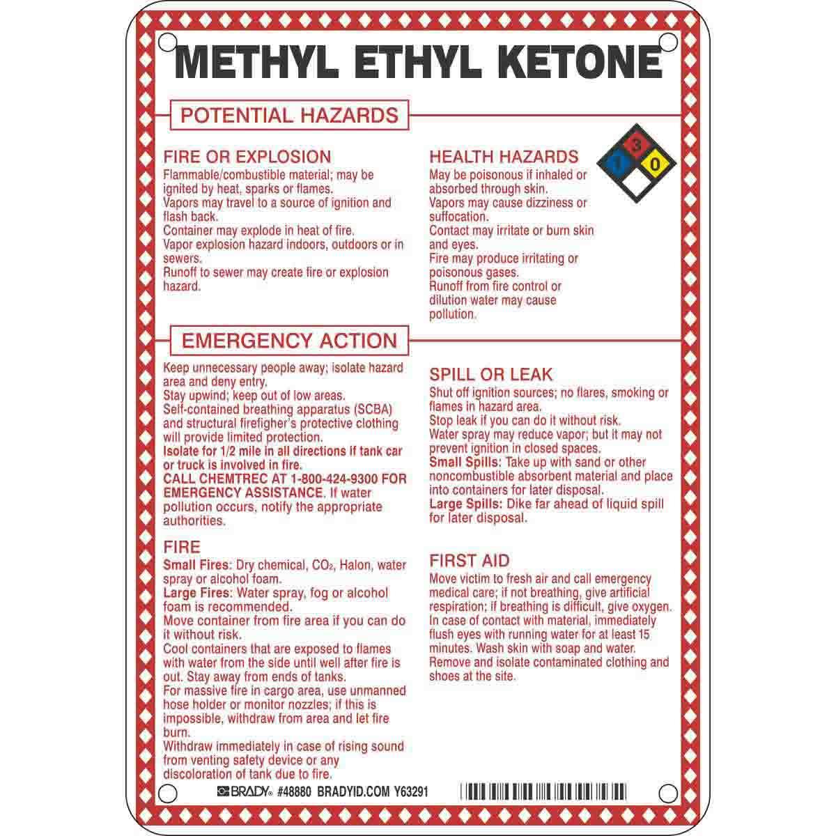 Methyl Ethyl Ketone Potential Hazards Sign