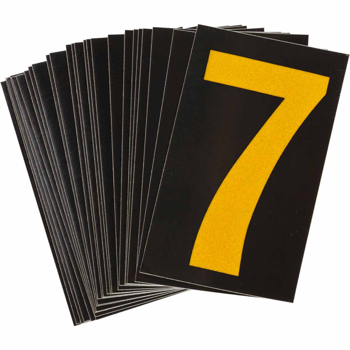 """BRADY 5000-7 MARKER REFLECTIVENUMBERS & LETTERS GROUP 1 1-3/4"""" X2-7/8"""" YELLOW ON BLACK 25 PER PACK"""