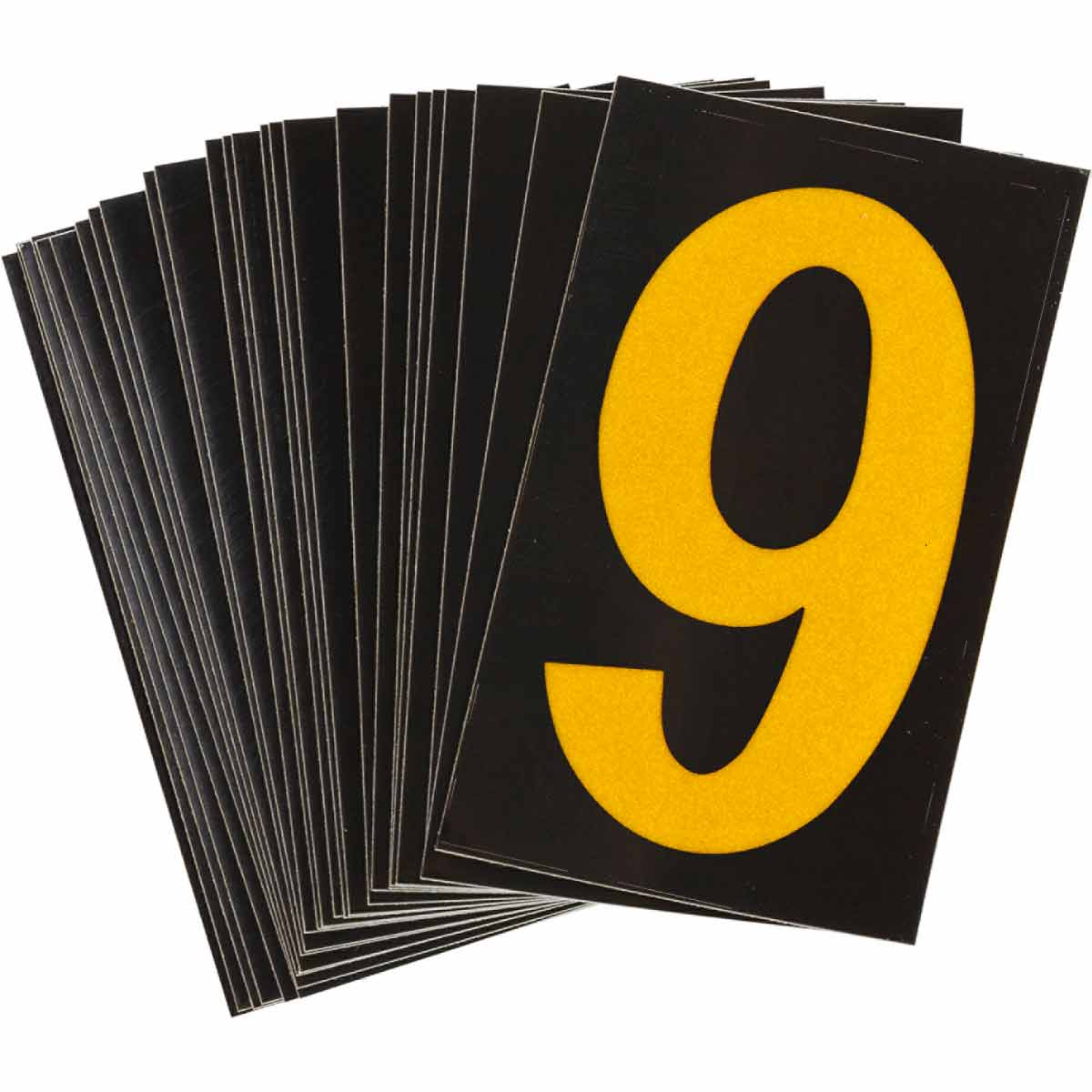 """BRADY 5000-9 BRADYLITE REFLECTIVENUMBERS & LETTERS GROUP 1 1-3/4"""" X2-7/8"""" YELLOW ON BLACK 25 PER PACK"""