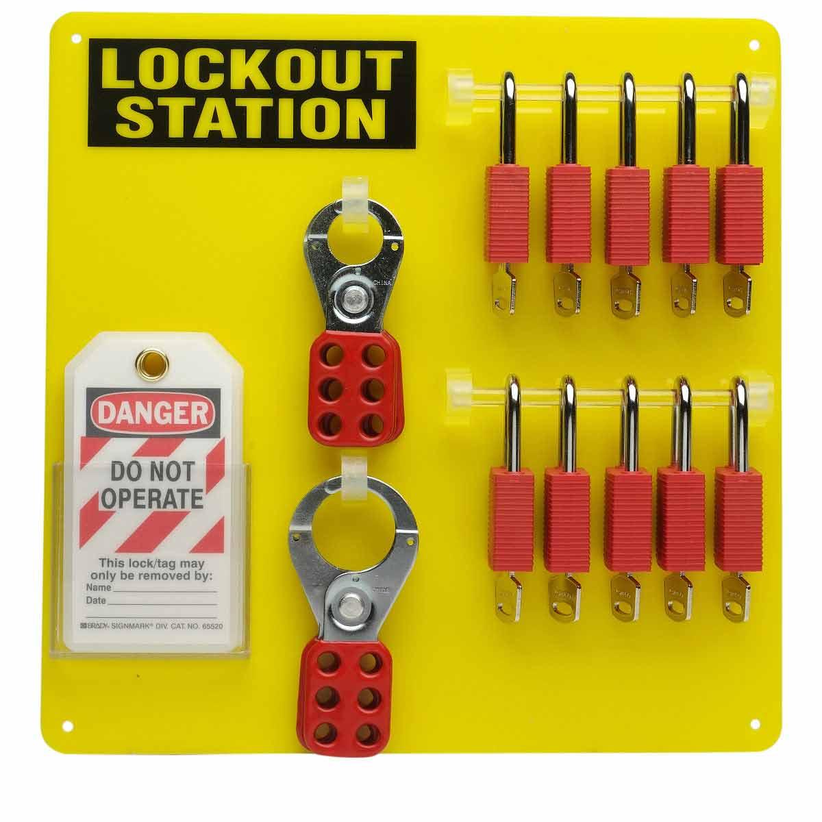 BRADY 51187 10-Lock Board WithSafety Padlocks