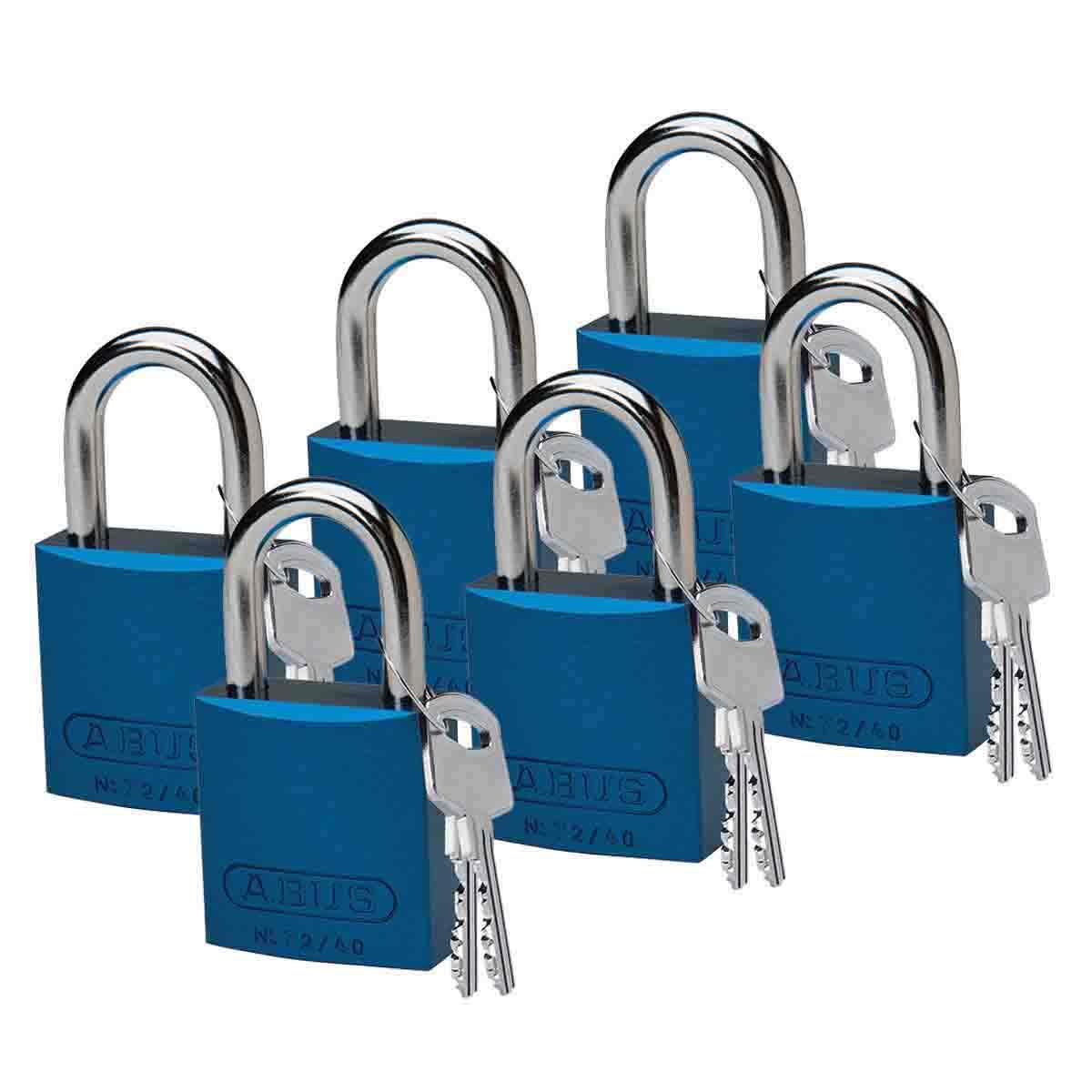 BRADY 51361 ABUS ALUMINUM PADLOCK 1IN KD BLUE 6/PAC