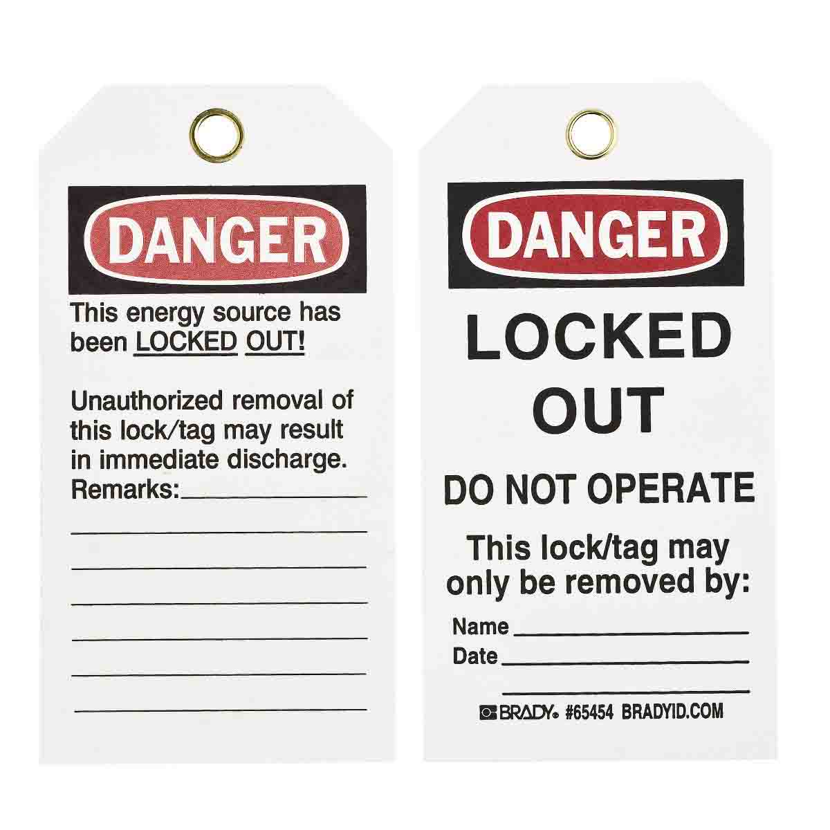 Brady Part: 65454 | Lockout Tags: DANGER: LOCKED OUT DO NOT OPERATE ...