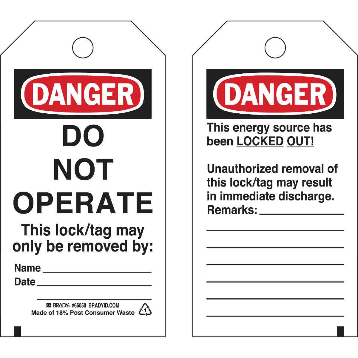 BRADY 66050 Lockout Tags 25/pkPolyester, Black/Red on White,Legend: Danger Do Not Operate,Includes Nylon Fastners, No Red Striping On Do Not Operate Message