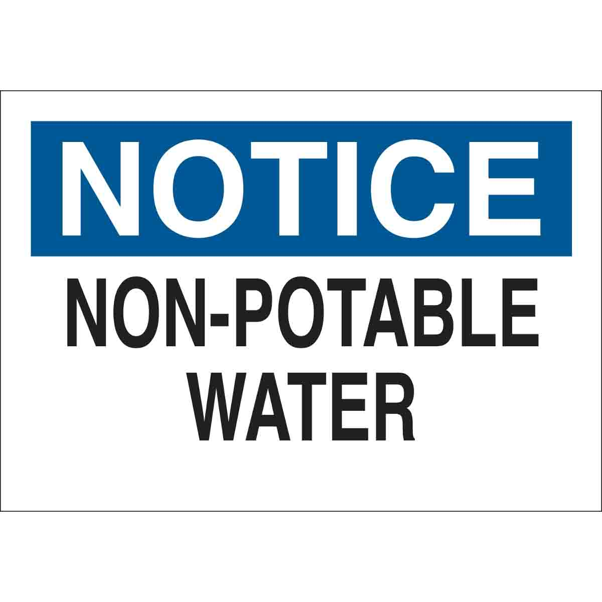 Brady part 22359 notice non potable water sign for Potable water
