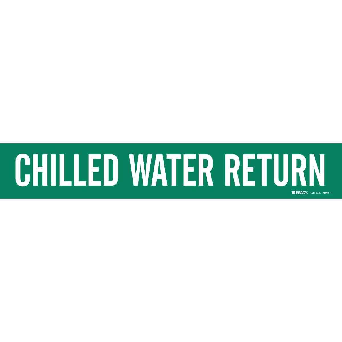 BRADY 7046-1 Pipe Marker,Chilled Water Return,Green