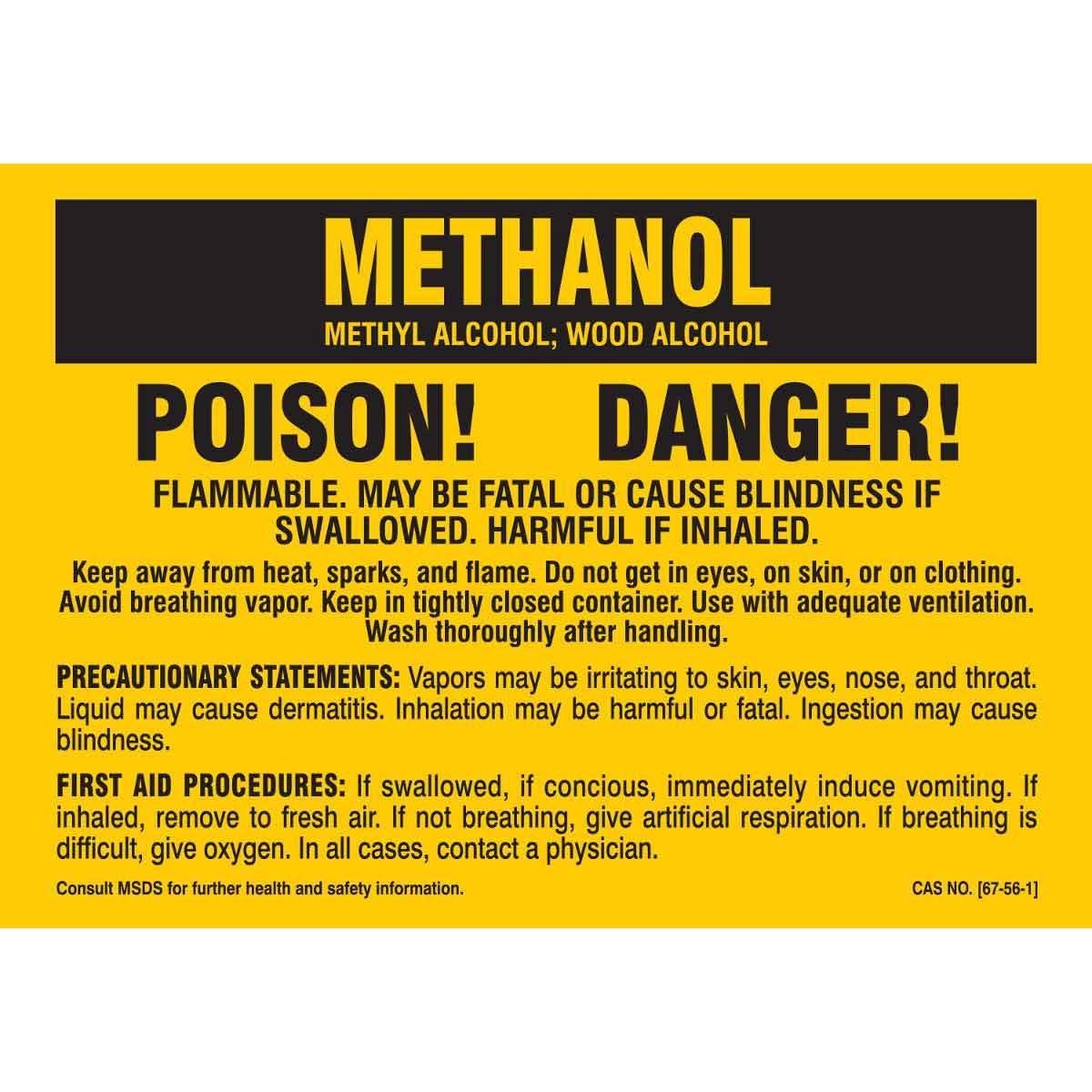Methanol Poison Danger Labels