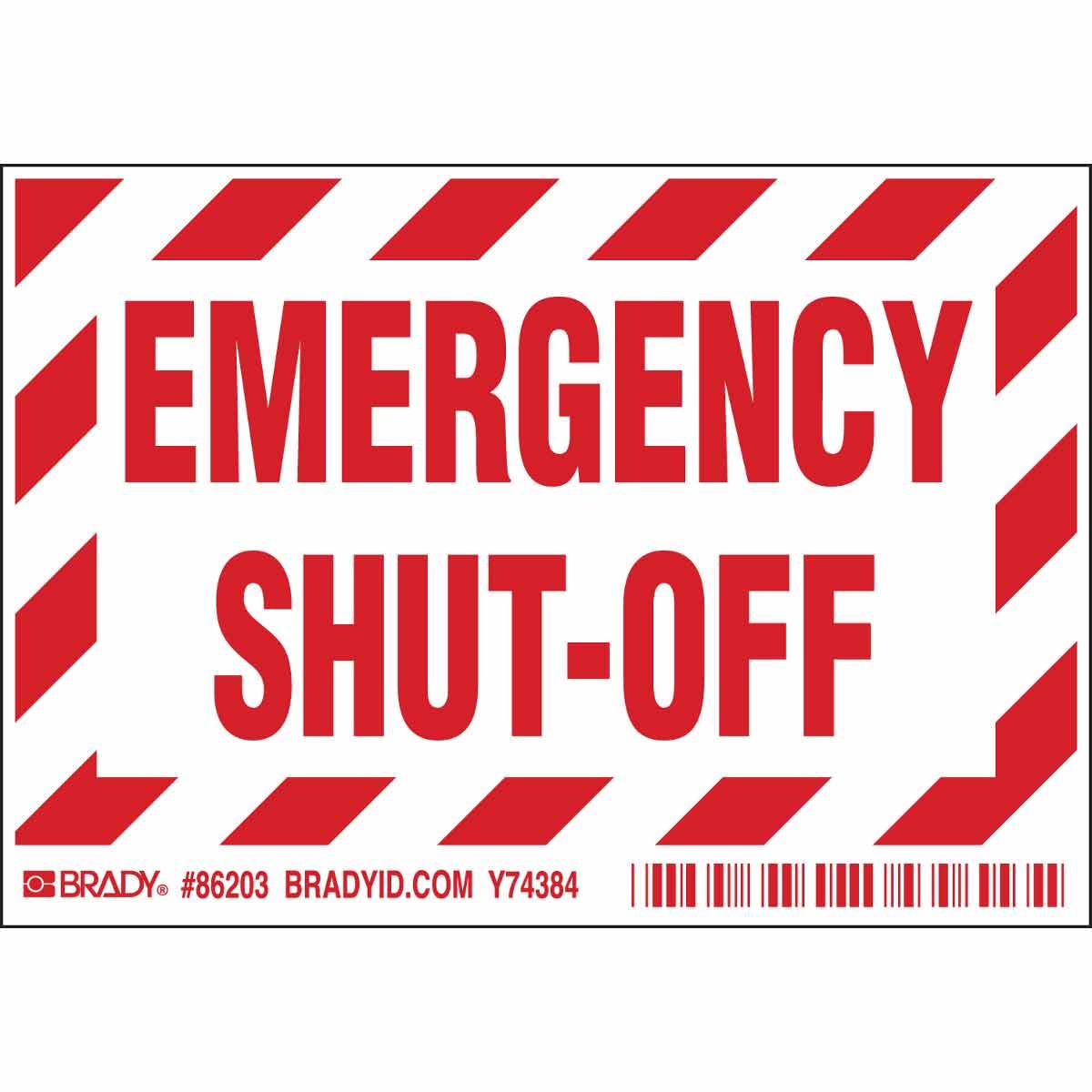 BRADY 86203 EMERGENCY SHUT OFFLABEL (5/PK)