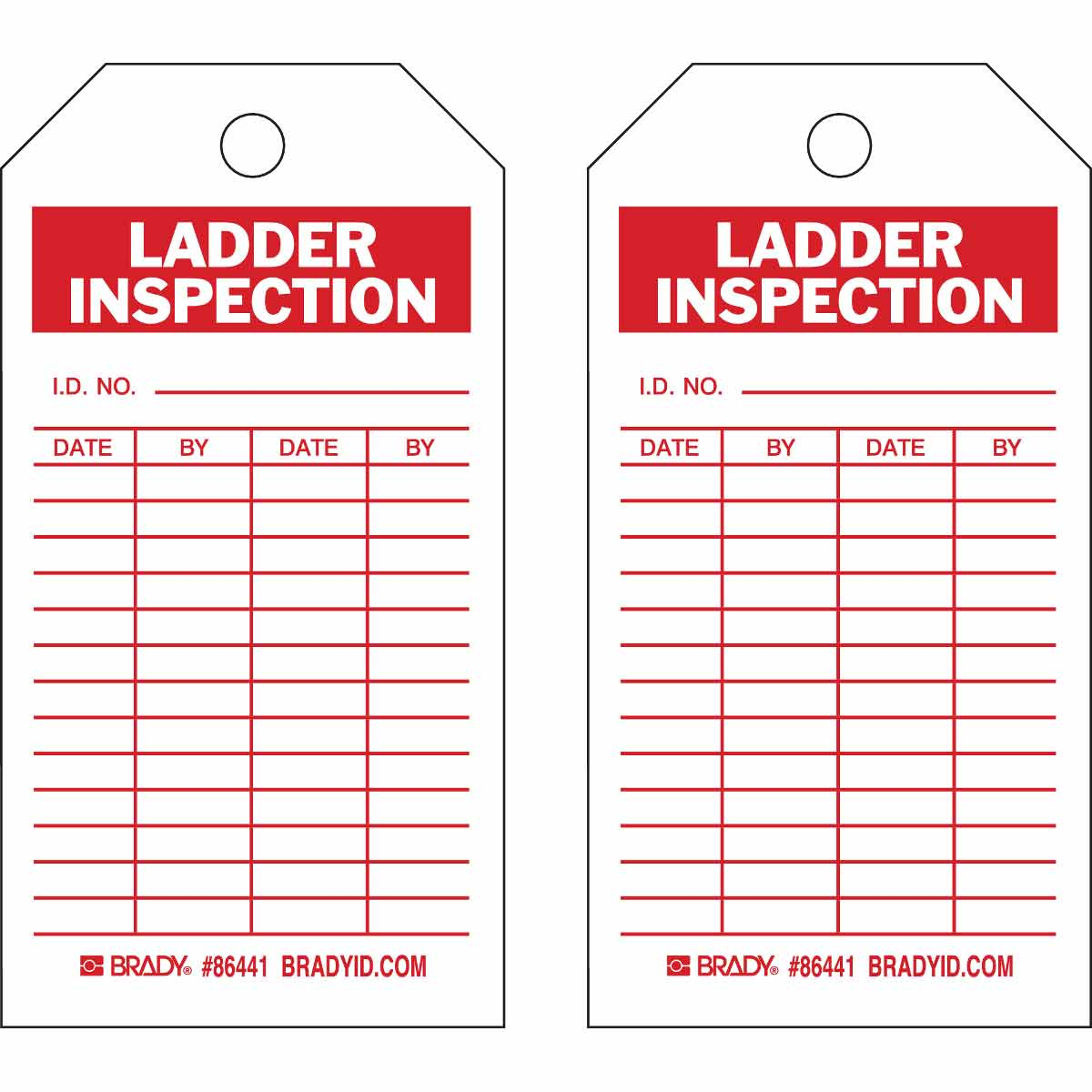Brady Part 86441 Inspection Material Control Tags Ladder