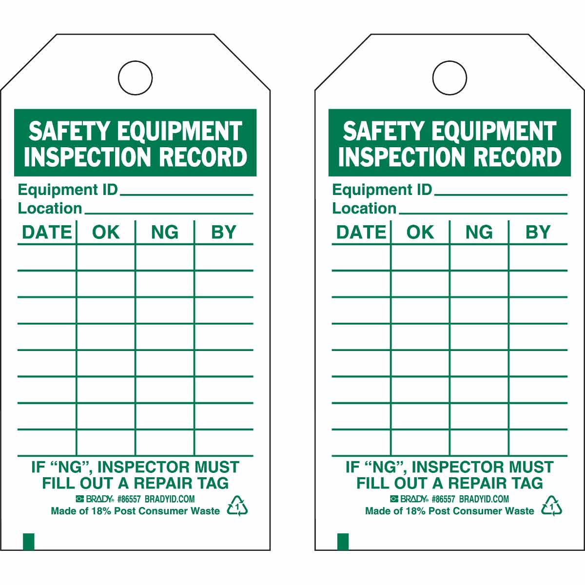 Inspection Material Control Tags SAFETY EQUIPMENT INSPECTION RECORD ID LOCATION DATE