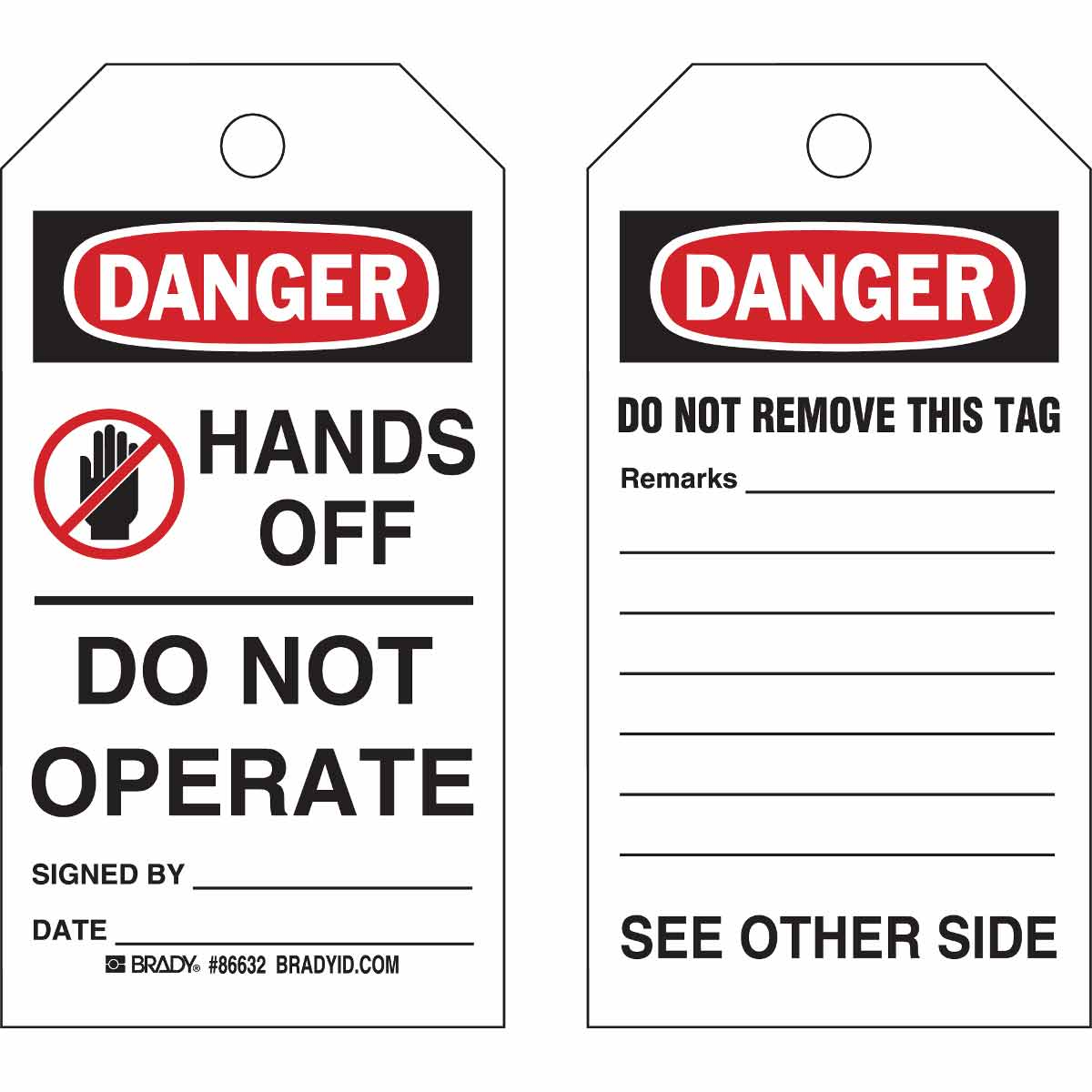 "Brady 86632 ""HANDS OFF - DO NOT OPERATE"" Accident Prevention Tag, Cardstock (100/Pkg)"