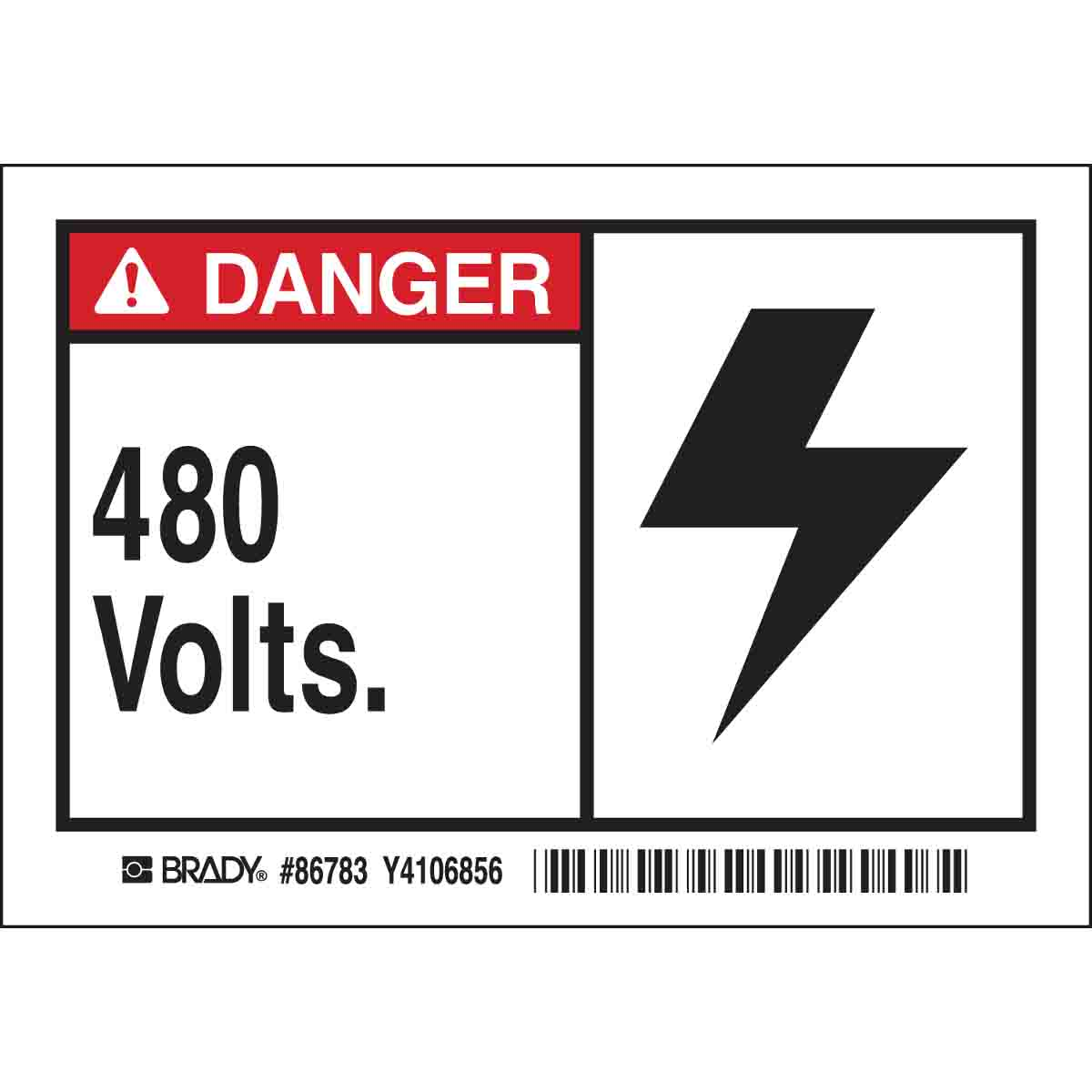 High Voltage 480 VoltsHeavy Duty Sign or Label OSHA Danger Sign