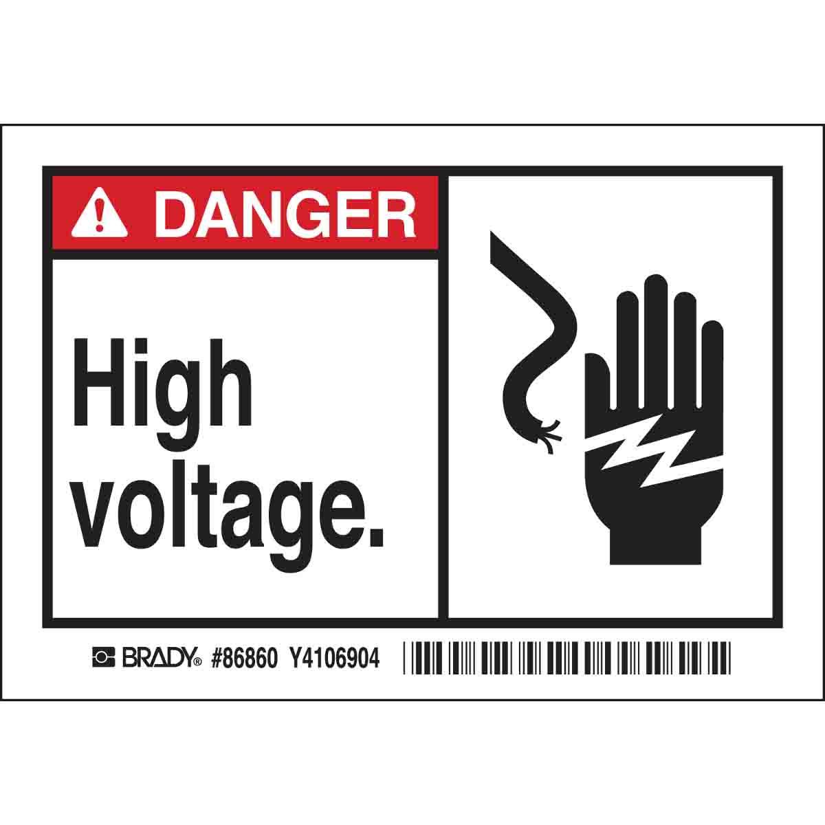 Brady Part 86860 Danger High Voltage Labels Dangers Of Aluminum Wiring
