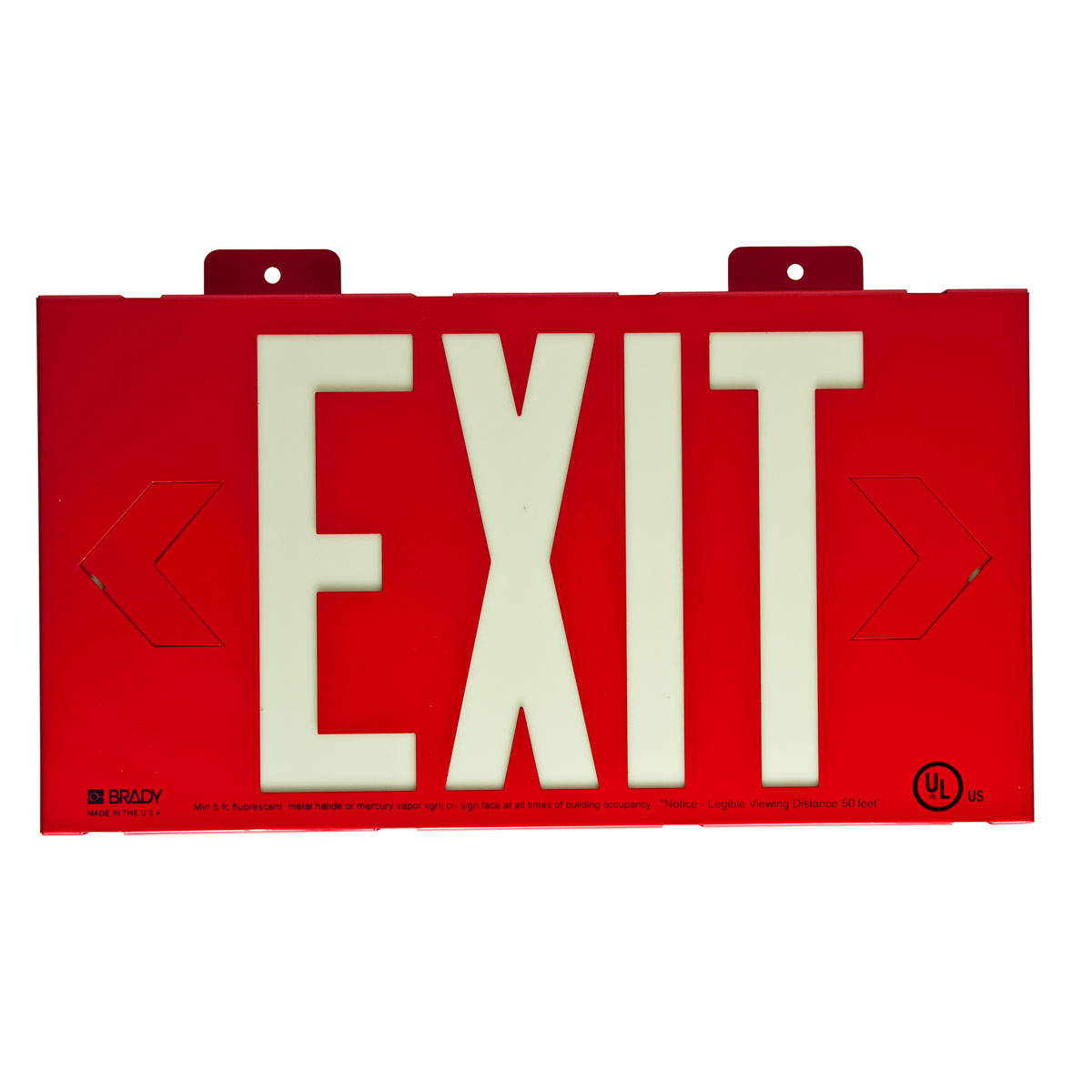 BRADY 90885 RED SINGLE FACE SIGN(WALL MOUNT)BRADY GLO EXIT SIGN