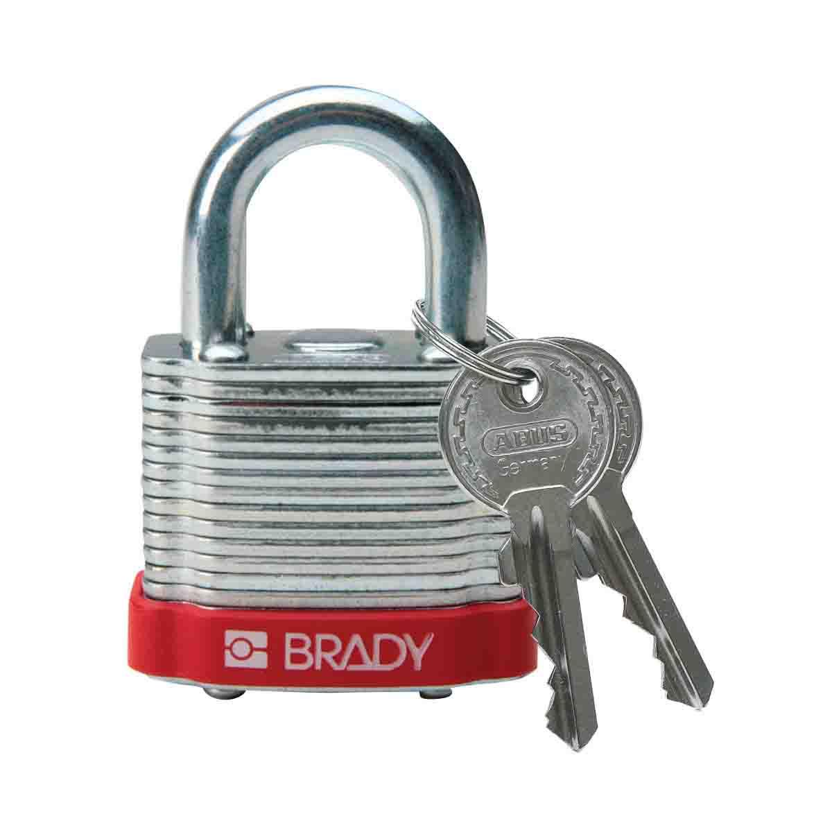 """Brady 99500 Steel Lockout Padlock, 3/4"""" Shackle, Red"""