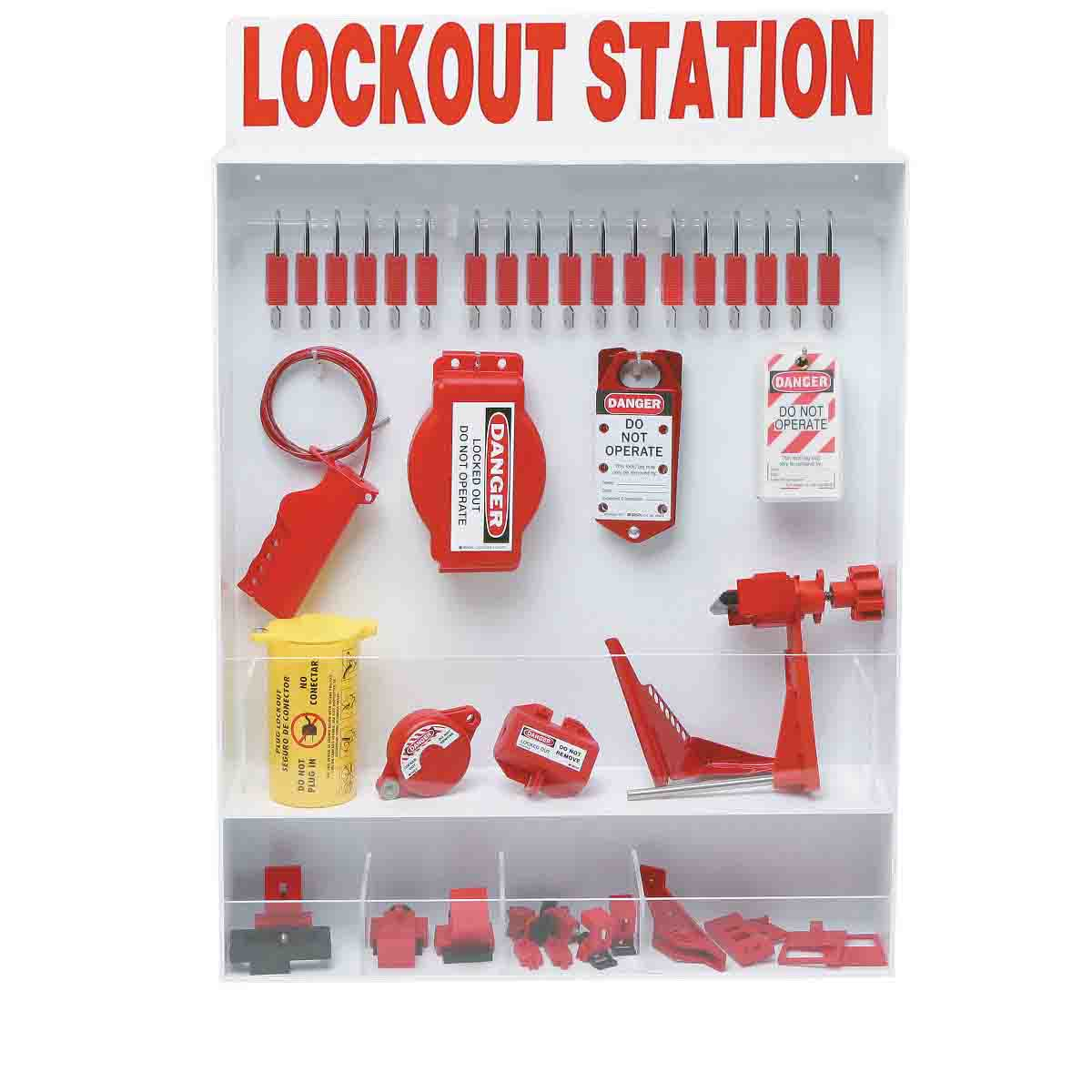 Extra Large Open Style Lockout Station Kit with 18 Padlocks and 25 Tags