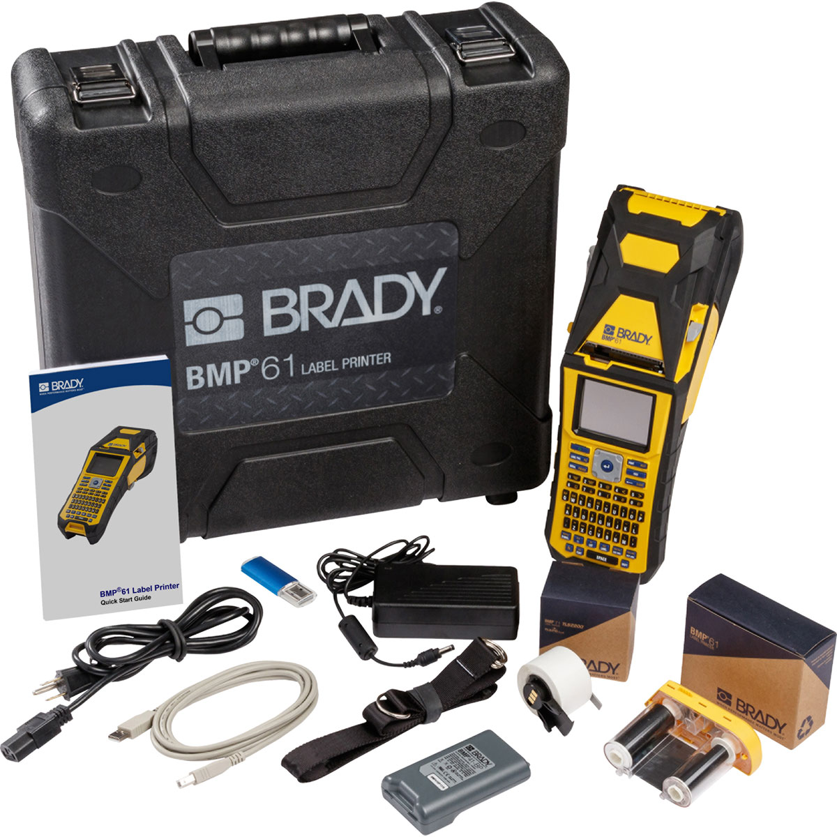 Brady BMP61 Handheld Label Printer, w/ Battery, AC ADapter/Battery Charger, Hard Case
