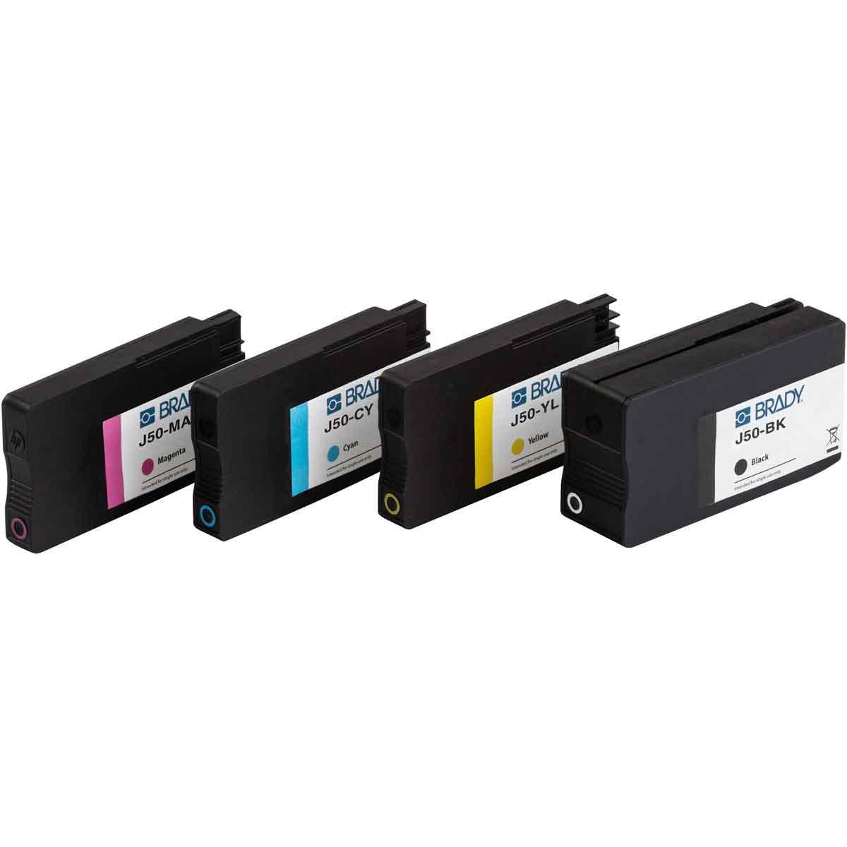 Yellow J50 Series Ink Cartridge Brady J50-YL Pack of 5 pcs