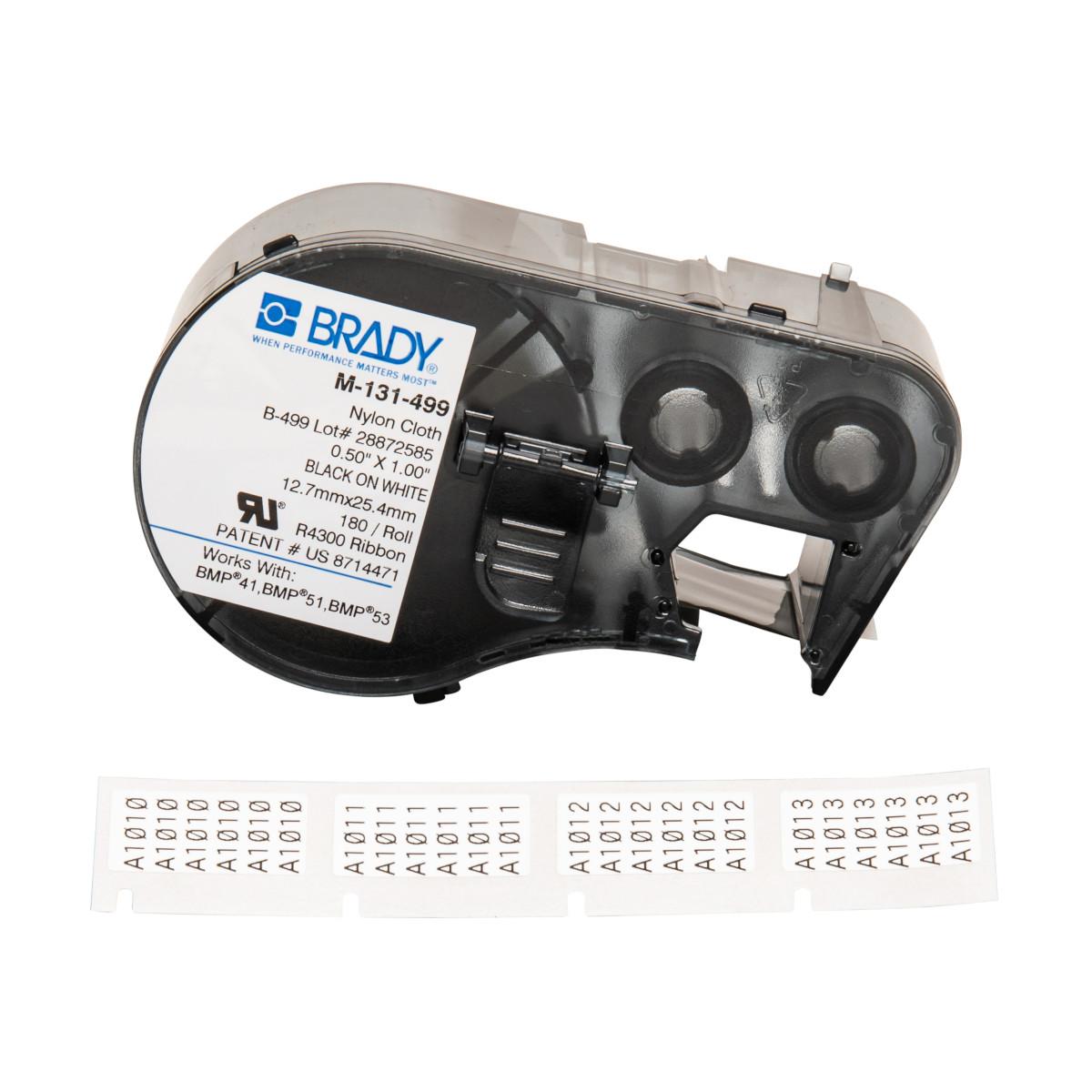 Brady Part M 131 499 143350 51 53 41 Nylon Cloth Home Bmp21 Hand Held Label Printer Electrical Kit Labels