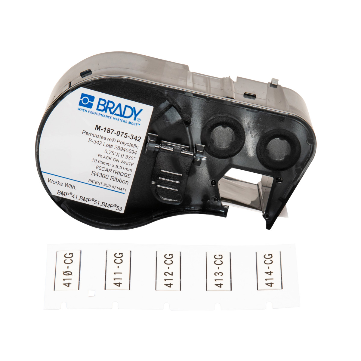 "BRADY M-187-075-342 Mseries B342Wht 0.75""X0.335"" 80Ea 1""Cart"