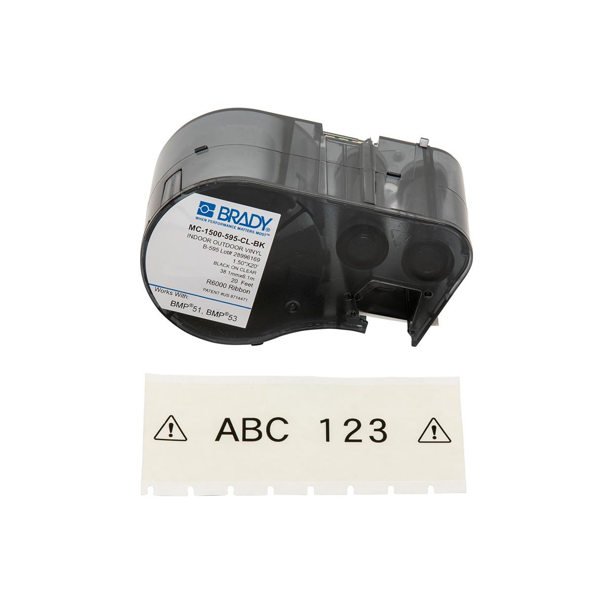 "BRADY MC-1500-595-CL-BK MseriesB595 Blk/Cl 1.50""X20' 1 Roll Hf"