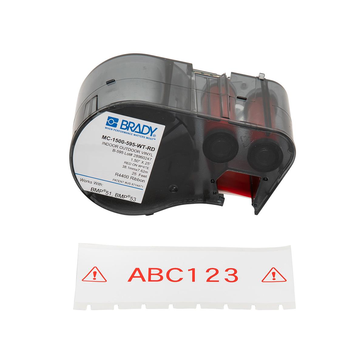 """BRADY MC-1500-595-WT-RD MseriesB595 Rd/Wht 1.50""""X25' 1 Roll"""