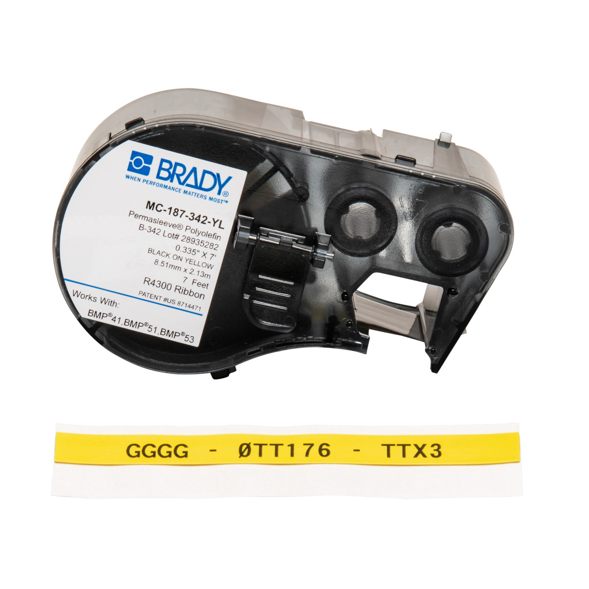 BRADY XPS-250-CONT-YL-BK Label Cartridge,Black//Yellow