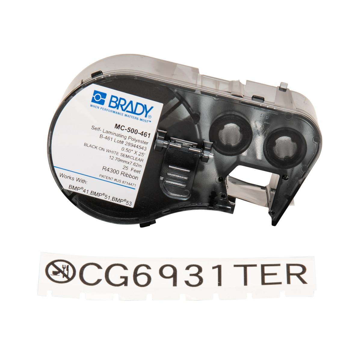 "BRADY MC-500-461 Label M SeriesB461.5""x25ft,Blk/Wht,1CQ"