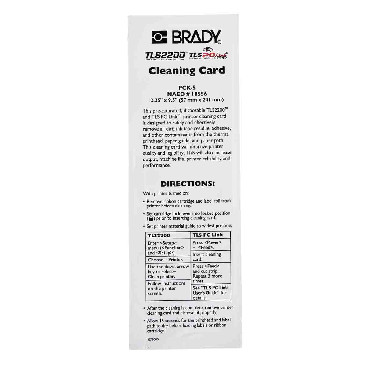 BRADY PCK-5 CLEANING KIT (5 CARDS)