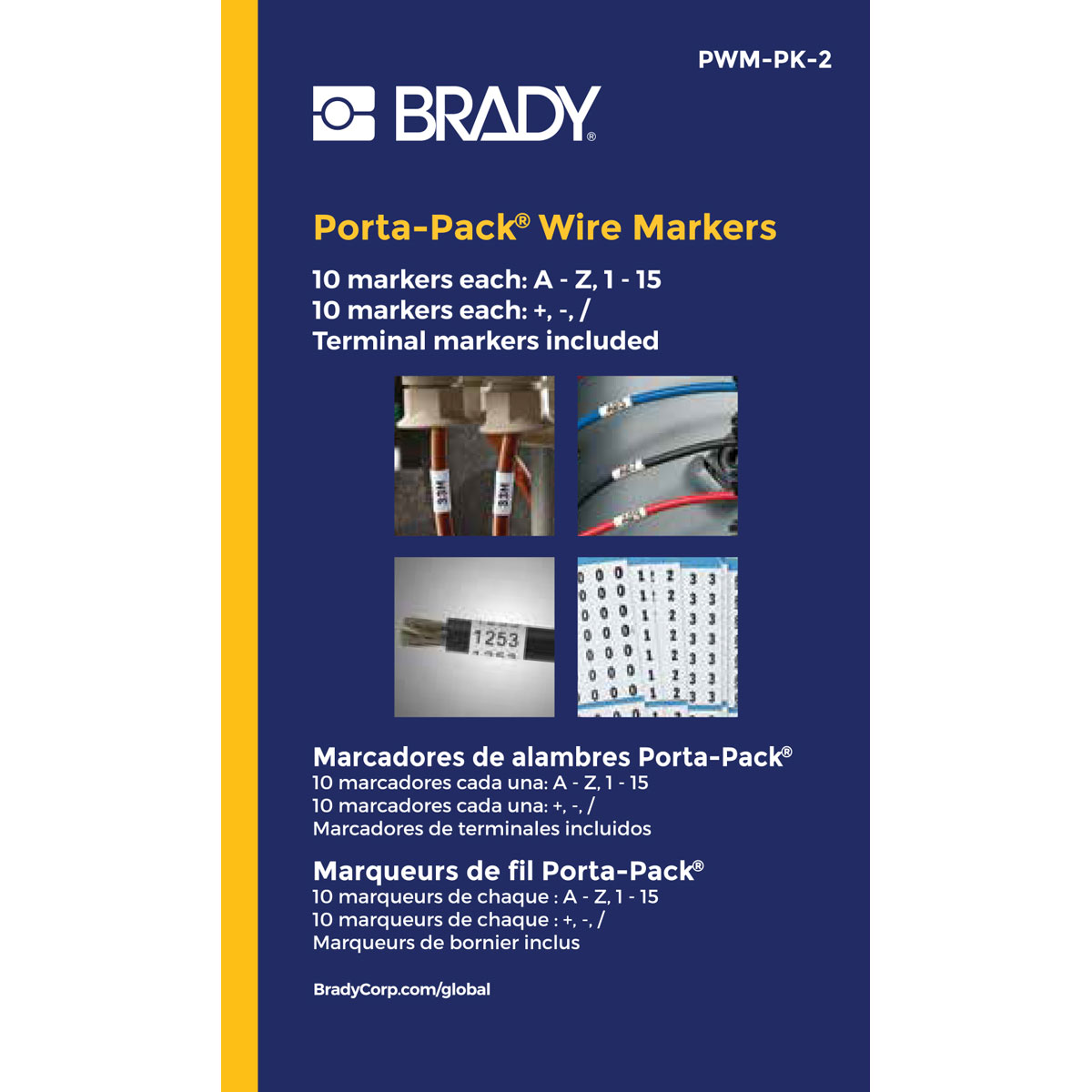 Pack of 10 Black on White Brady PWM-11 Wire Marker Repositionable Vinyl Cloth Legend 11