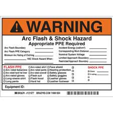 brady part 121077 warning write on arc flash shock labels warning. Black Bedroom Furniture Sets. Home Design Ideas