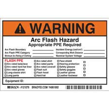 brady part 121079 warning write on arc flash labels warning. Black Bedroom Furniture Sets. Home Design Ideas