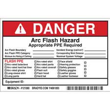 brady part 121080 danger write on arc flash labels danger. Black Bedroom Furniture Sets. Home Design Ideas
