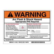 brady part 121083 warning preprinted arc flash shock labels hazard category 0 warning. Black Bedroom Furniture Sets. Home Design Ideas