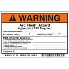 brady part 121097 warning preprinted arc flash labels hazard category 1 warning. Black Bedroom Furniture Sets. Home Design Ideas
