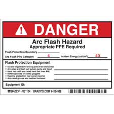 brady part 121104 danger preprinted arc flash labels hazard category 4 danger. Black Bedroom Furniture Sets. Home Design Ideas