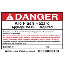brady part 121108 danger low risk arc flash labels hazard category 1 danger. Black Bedroom Furniture Sets. Home Design Ideas