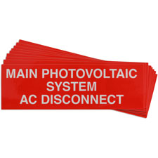 Pre-Printed SOLAR MAIN AC DISC Warning Labels