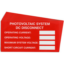 Pre-Printed SOLAR DC DISCON VAR Warning Labels