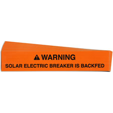 Pre-Printed SOLAR BREAKER BACKFED Warning Labels