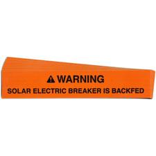 Pre-Printed SOLAR BREAKER BACKFED Warning Labels