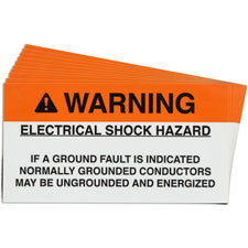Pre-Printed SOLAR GROUND FAULT Warning Labels