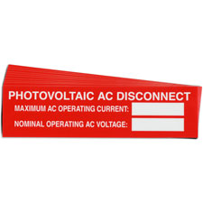 Pre-Printed SOLAR AC DISCON VAR Warning Labels