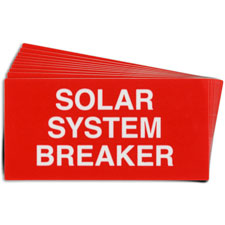 Pre-Printed SOLAR BREAKER Warning Labels