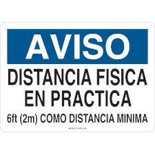Aviso Distancia Fisica En Practica Sign