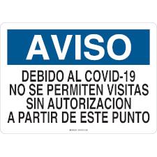 Aviso Debido Al Covid-19 No Se Permiten Visitas Sign