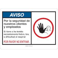 Aviso Por La Seguridad De Nuestro Clientes Y Empleados Sign