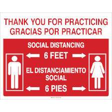 Bilingual Thank You For Practicing Social Distancing Sign