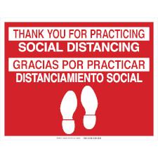 Bilingual Social Distancing Floor Marker